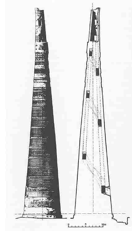 Scale drawing and cross-section of the minaret