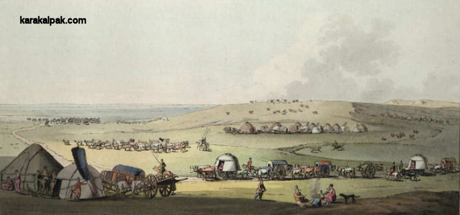 Painting of Noghay cart tents and yurts by Geissler