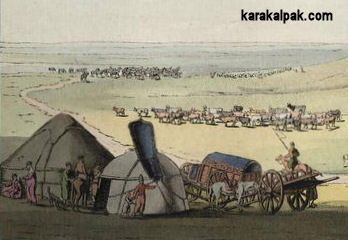 Detail from a painting of Noghay cart tents and yurts by Geissler