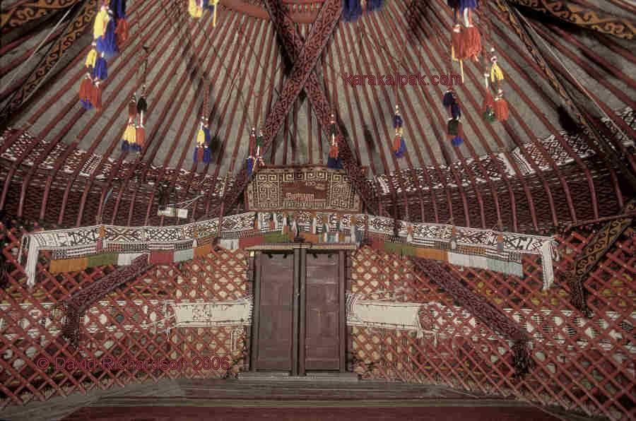 Fully decorated yurt interior